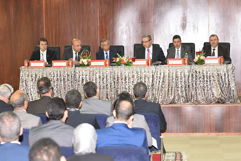 Opening of the conference with the Moroccan Ministry of Justice on the Independence of the Judiciary in Rabat: Mohamed Aoujar, Minister of Justice (at the microphone); Abdelillah Bennani, Secretary General of the Ministry of Justice, (on the right), Mustafa Fares, President of the High Judicial Council, (4 th from left)