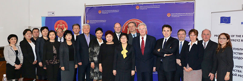 Participants of the presentation of the Handbook for Presiding Judges of Courts of First Instance on Practical Issues of Court Administration as part of the EU Project in Bishkek: Ajnasch Tokbaeva, President of the Supreme Court (first row centre) with Presiding Judges and long term as well as short term experts of the EU Grant Project