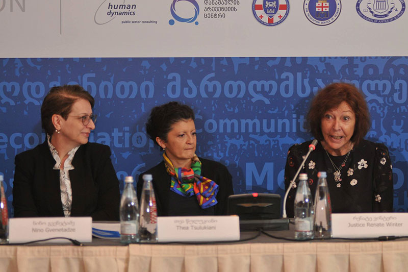 "Conference as part of the EU project ""Support to the Independence, Accountability and Efficiency of the Judiciary"": Prof. Dr. Nino Gvenetadze, President of the Supreme Court; Thea Tsulukiani, Minister of Justice of Georgia; Renate Winter, Project Team Leader (from left to right)"