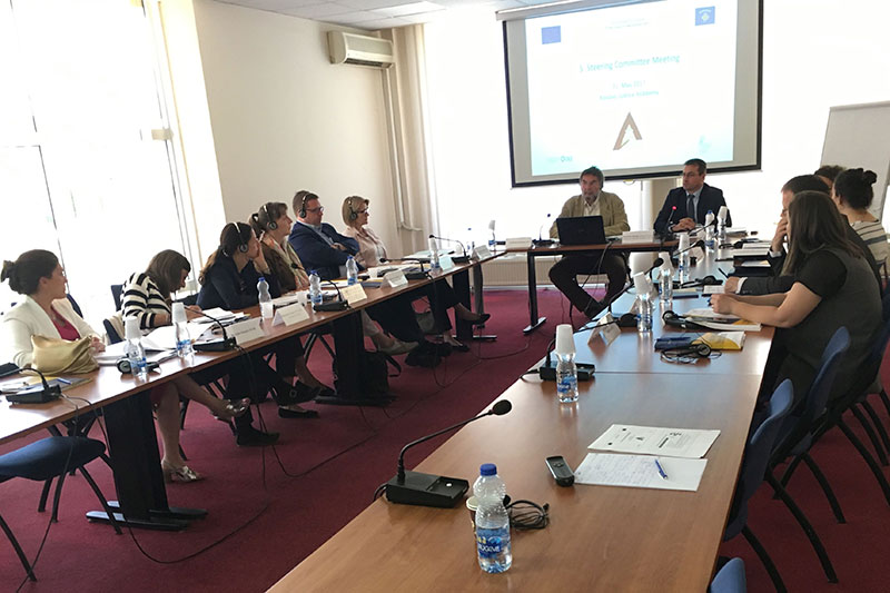 5 th Steering Committee Meeting in Pristina: Edita Kusari, EUSR; Laura Liguori, Kosovo Prosecutorial Council; Julia Jacoby, EU Office Kosovo; Katharina Tegeder, IRZ; Eric Vincken, Junior Project Leader; Christine Jacobi, Project Leader; Klaus Erdmann, Resident Twinning Advisor; Besim Morina, Kosovan Project Leader; Afërdita Smajli, JSSP; Melihate Rama; Ruzhdi Osmani, Ministry of Justice Kosovo; Valmira Pefqeli, Resident Twinning Advisor counterpart (from left to right)